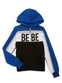 Bebe Girl's Active Cotton-Blend Fleece Hooded Jack