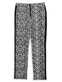 Bebe Girl's Snakeskin-Print Ponte Pants GREY BLACK