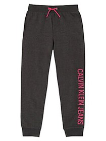Calvin Klein Girl's Logo Fleece Sweatpants CHARCOA