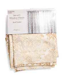 RODEO HOME 54x96 Set Of 2 Velvet Damask Curtains