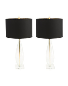 J HUNT HOME Set Of 2 29in Round Clear Crackle Lamp