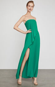 BCBG Draped Front Strapless Gown