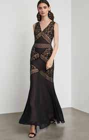 BCBG Scrolling Embroidery Gown