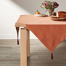 "Crate Barrel Zayn 50"" Rust Table Throw"