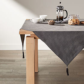 "Crate Barrel Zayn 50"" Grey Table Throw"