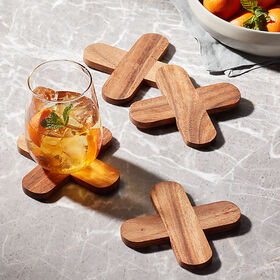 Crate Barrel X Wood Coasters, Set of 4