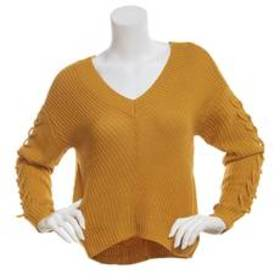 Juniors Almost Famous™ Lace Up Sleeve Sweater
