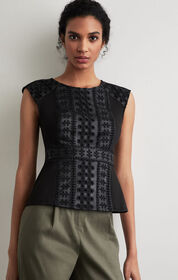 BCBG Embroidered Faux Leather Peplum Top