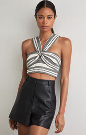 BCBG Striped Twist Front Cropped Top