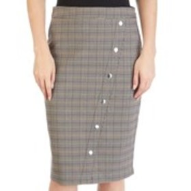 Plaid Asymmetrical Snap Front Pencil Skirt