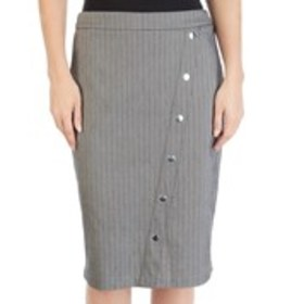 Herringbone Asymmetrical Snap Front Pencil Skirt