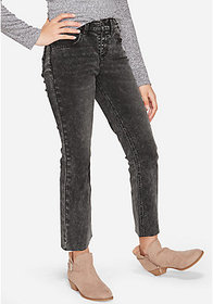 Justice Button Fly High Rise Straight Ankle Jeans