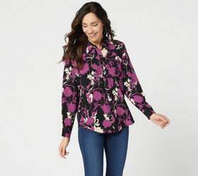 """""""As Is"""" Denim & Co. Floral Printed Button Front Lo"""