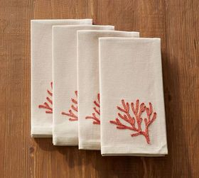 Pottery Barn Embroidered Coral Napkin, Set of 4