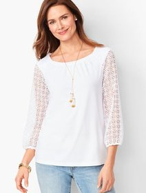 Talbots Lace Ponte Top
