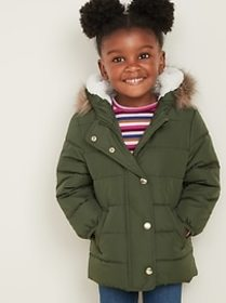 Frost-Free Long Puffer Jacket for Toddler Girls