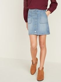 High-Waisted Button-Front Jean Skirt for Girls