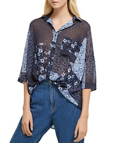 FRENCH CONNECTION - Floral Patchwork Button-Down S