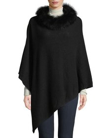 Neiman Marcus Wool-Blend Poncho with Fox Fur Cowl