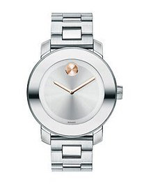 Movado BOLD Stainless Steel Bracelet Watch SILVER