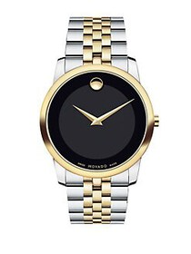 Movado Museum Black Dial Two-Tone PVD Stainless St