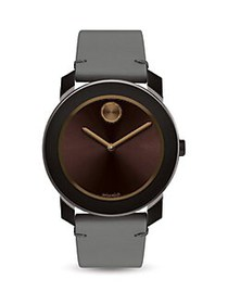 Movado BOLD Stainless Steel Leather Strap Watch GR
