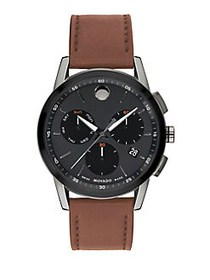 Movado Museum Sport Leather Chronograph Watch BROW