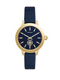 Tory Burch Collins Goldtone Stainless Steel & Leat