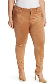Seven7 Faux Suede Mid Rise Skinny Jeans (Plus Size