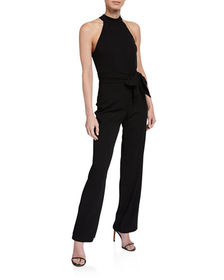 Bebe Halter Jumpsuit with Bow