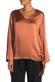 JARBO V-Neck Side Tie Silk Blouse