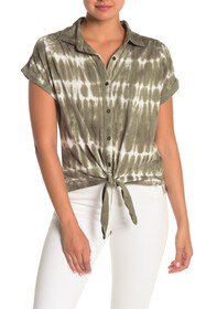 C & C California Tie-Dye Knotted Top