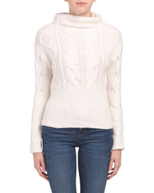 VINCE CAMUTO Petite Long Sleeve Pullover Cable Swe