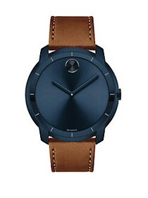 Movado BOLD Large Crystal & Stainless Steel Leathe