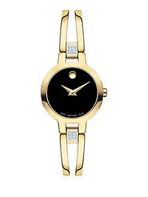 Movado Amorosa Bangle Goldtone & Diamond Bracelet