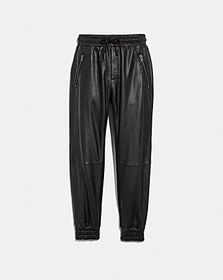 Coach leather track pants