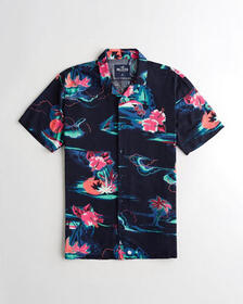 Hollister Short-Sleeve Hawaiian Shirt, NAVY PRINT
