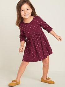 Fit & Flare Twill Dress for Toddler Girls
