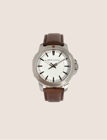 Armani FACETED BROWN LEATHER STRAP WATCH