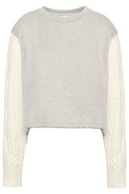 3.1 PHILLIP LIM Cable knit-paneled French cotton-t