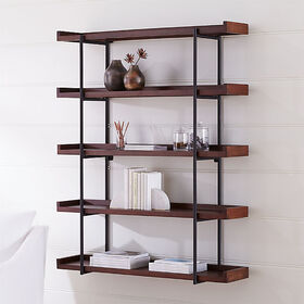 "Crate Barrel Beckett 48"" 5-Tier Wall Shelf Sable"