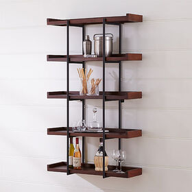 "Crate Barrel Beckett 36"" 5-Tier Wall Shelf Sable"