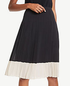 Petite Colorblock Pleated Skirt