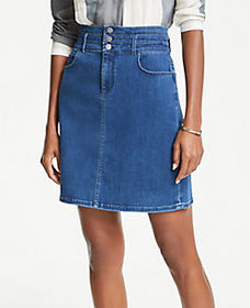 Petite Three Button Denim Skirt