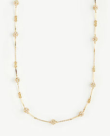 Pave Fireball Station Necklace
