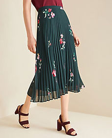 Floral Micro Pleat Skirt