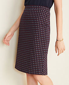 Checked Flounce Back Pencil Skirt