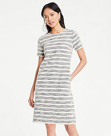 Textured Stripe Knit Shift Dress