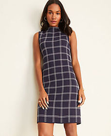 Plaid Mock Neck Sweater Dress