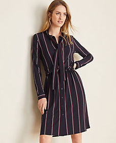 Striped Tie Neck Shirtdress